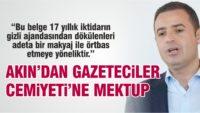 AHMET AKIN'DAN GAZETECİLER CEMİYETİ'NE MEKTUP